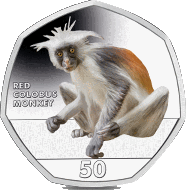 Гибралтар монета 50 пенсов Красный колобус, реверс