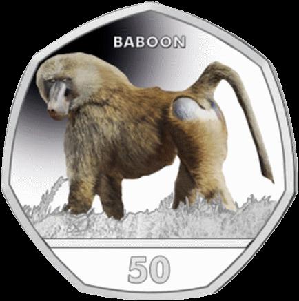 Гибралтар монета 50 пенсов Павиан, реверс