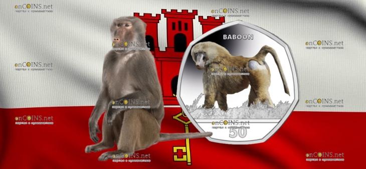Гибралтар монета 50 пенсов Павиан