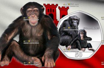 Гибралтар монета 50 пенсов Шимпанзе