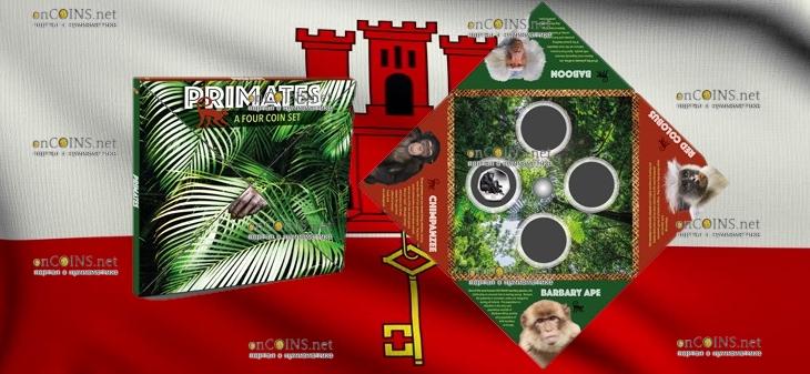 Гибралтар серия монет Приматы, 2018 год, альбом - подарочная упаковка