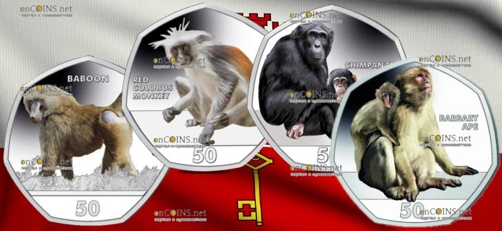 Гибралтар серия монет Приматы, 2018 год