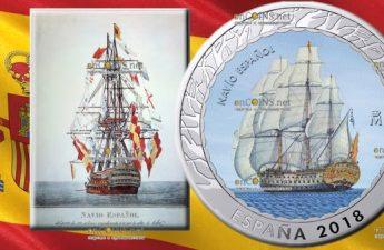Испания монета 1,5 евро Испанский корабль