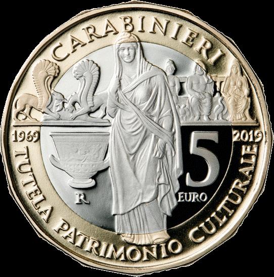 Италия монета 5 евро 50-летие Подразделения карабинеров по охране культурного наследия, аверс