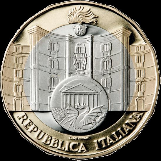 Италия монета 5 евро 50-летие Подразделения карабинеров по охране культурного наследия, реверс