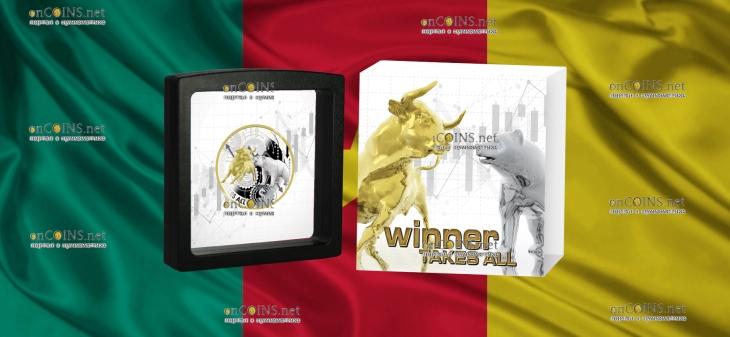 Камерун монета-амулет 1000 франков КФА Победитель берет все, подарочная упаковка