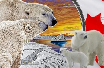Канада монета 20 долларов Белый медведь