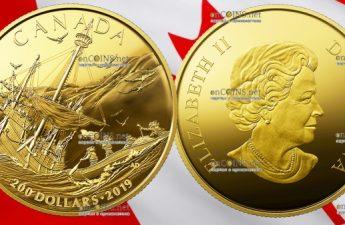 Канада монета 200 долларов Прибытие европейцев