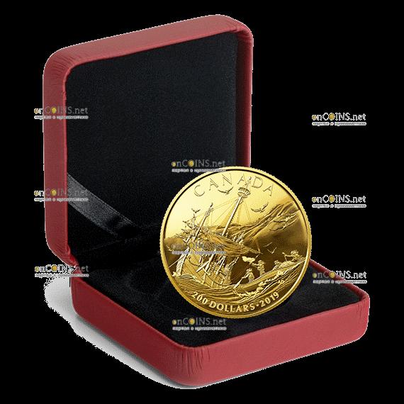 Канада монета 200 долларов Прибытие европейцев, подарочная упаковка