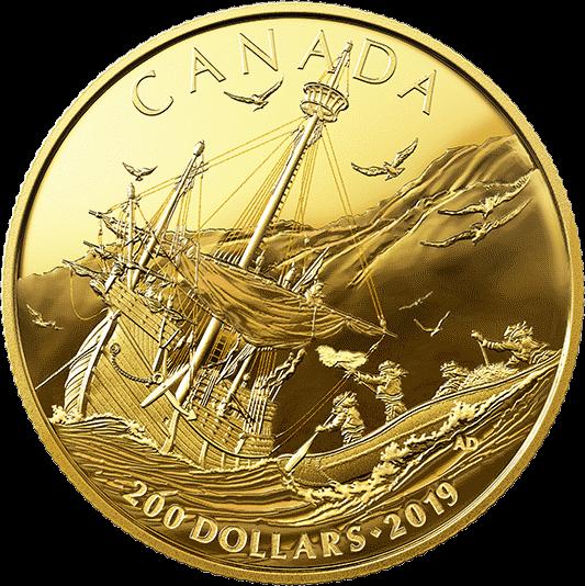 Канада монета 200 долларов Прибытие европейцев, реверс