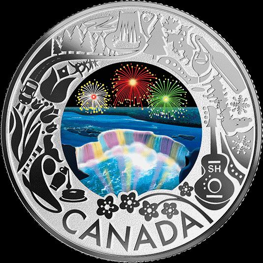 Канада монета 3 доллара Ниагарский водопад - Зимний фестиваль огней, реверс