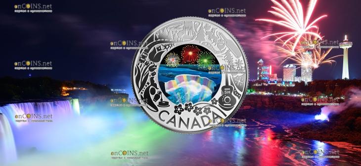 Канада монета 3 доллара Ниагарский водопад - Зимний фестиваль огней