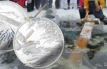 Литва монета 10 евро Ловля Корюшки