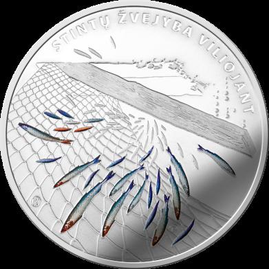 Литва монета 10 евро Ловля Корюшки, реверс