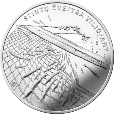 Литва монета 1,5 евро Ловля Корюшки, реверс