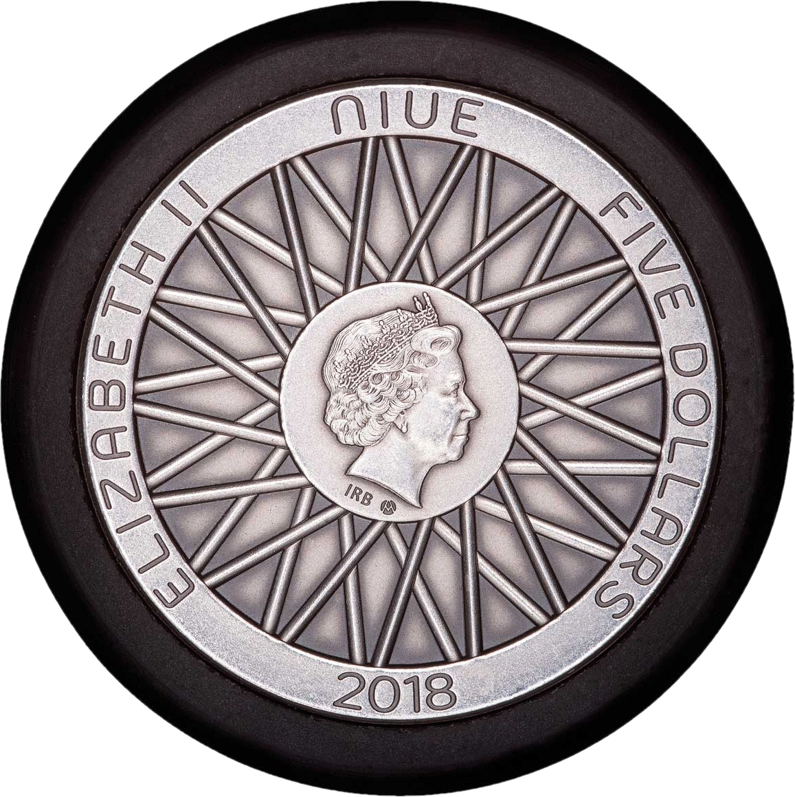 Ниуэ монета 5 долларов 130-летие изобретения Dunlop, аверс