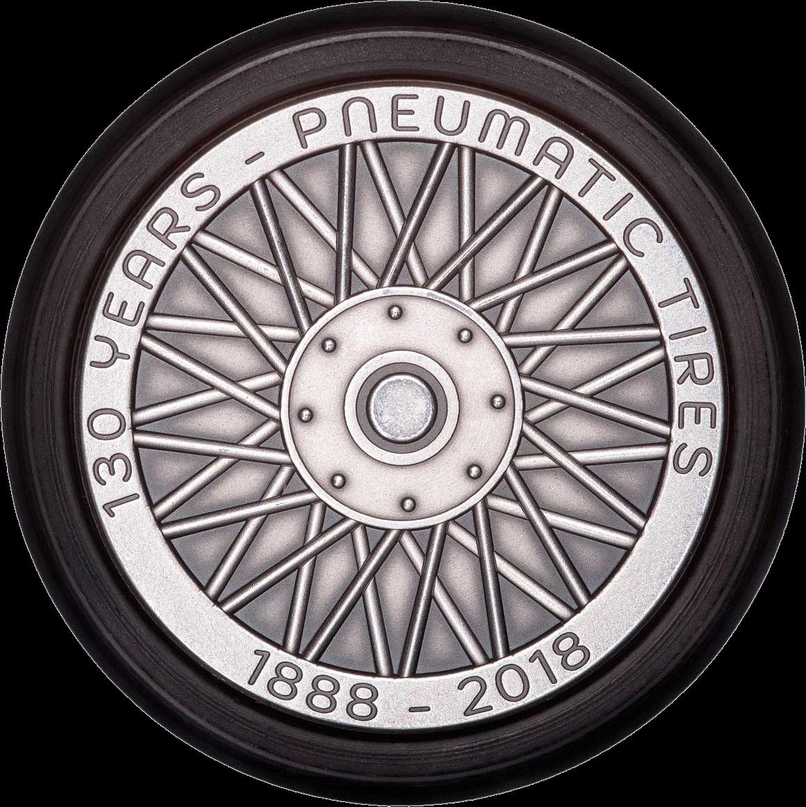 Ниуэ монета 5 долларов 130-летие изобретения Dunlop, реверс