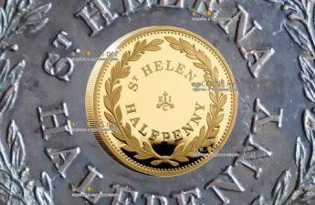 Остров Святой Еелены монета 2 фунта пол Пенни острова Святой Елены