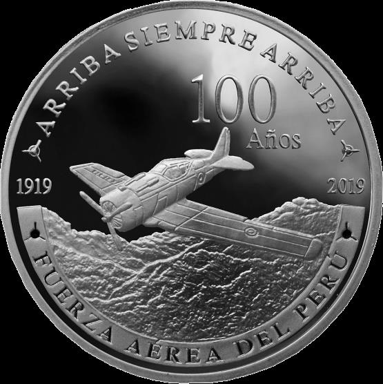 Перу монета 1 соль 100 лет ВВС Перу, реверс