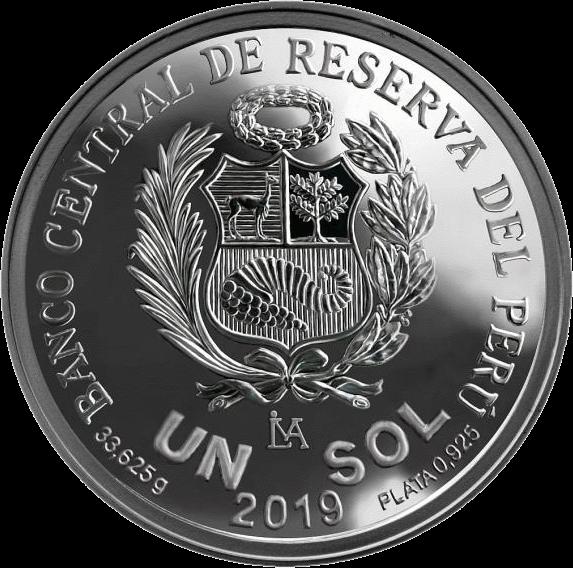Перу монета 1 соль 2019 год, серебро, аверс