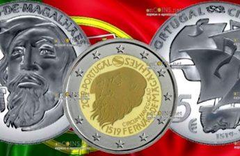 Португалия, серия монет к 500-летию кругосветного путешествия Фернана Магеллана