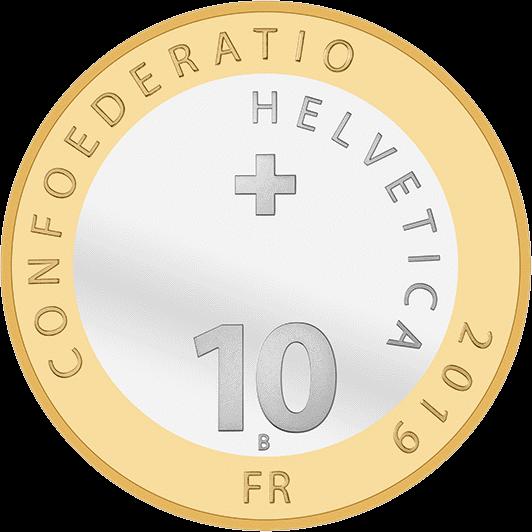 Швейцарии биметаллическая монета 10 франков 2019 года, аверс