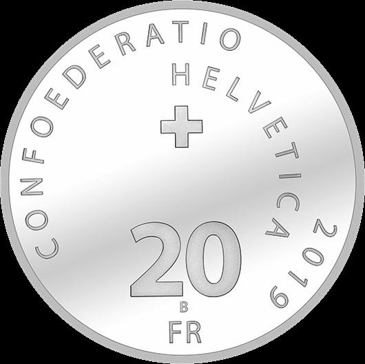 Швейцария памятная монета 20 франков 2019, серебро, аверс
