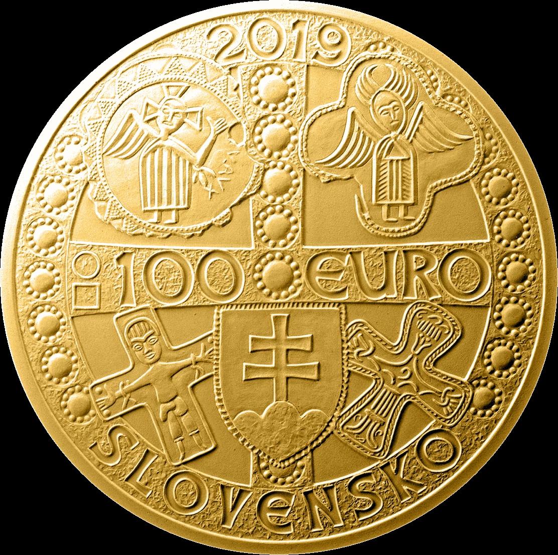 Словакии монета 100 евро Моймир I - правитель Великой Моравии, аверс