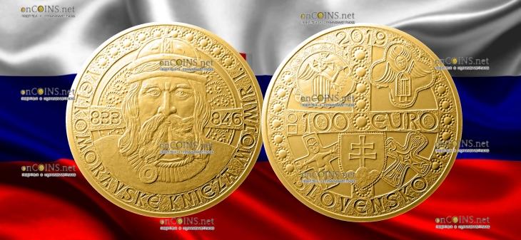 Словакии монета 100 евро Моймир I - правитель Великой Моравии