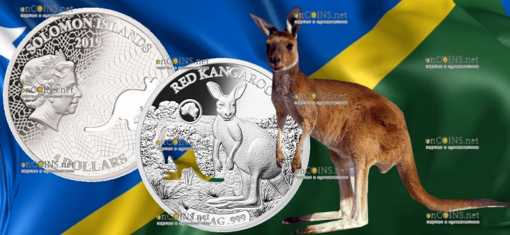 Соломоновы острова монета 5 долларов Кенгуру