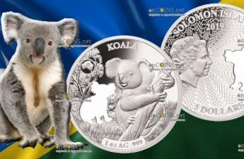 Соломоновы острова монета 5 долларов Коала