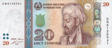 Таджикистан банкнота 20 сомони, 2018 год, лицевая сторона