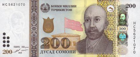 Таджикистан банкнота 200 сомони, 2018 год, лицевая сторона