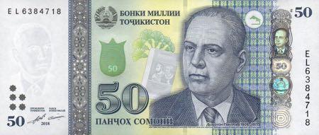 Таджикистан банкнота 50 сомони, 2018 год, лицевая сторона