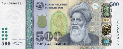 Таджикистан банкнота 500 сомони, 2018 год, лицевая сторона