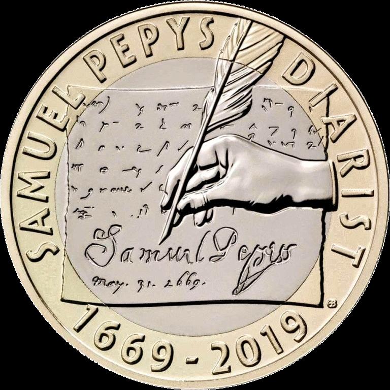 Великобритания монета 2 фунта 350 лет со дня последней записи в дневнике Сэмюэля Пипса, реверс