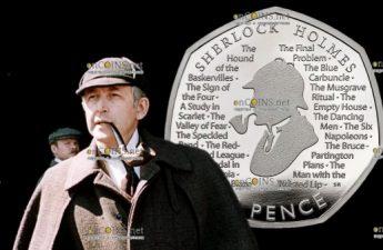 Великобритания монета 50 пенсов Шерлок Холмс