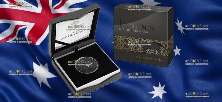 Австралия монета 5 долларов Тасманийский тигр, подарочкая упаковка