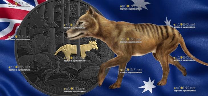 Австралия монета 5 долларов Тасманийский тигр