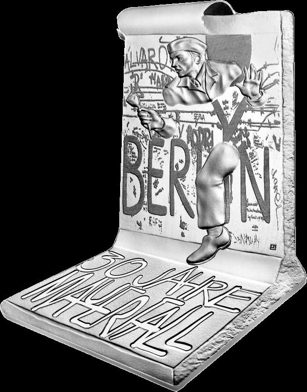 Франция 3D монета 10 евро Падения Берлинской стены, аверс