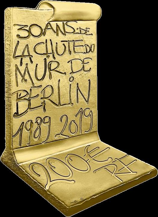 Франция 3D монета 200 евро Падения Берлинской стены, реверс