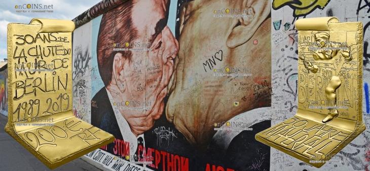 Франция 3D монета 200 евро Падения Берлинской стены