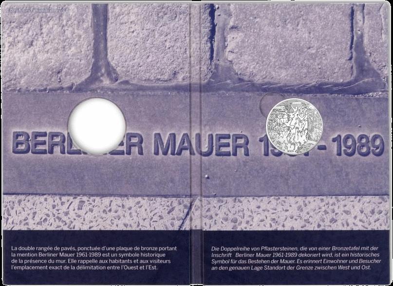 Франция монета 10 евро Падения Берлинской стены, подарочная упаковка внутри