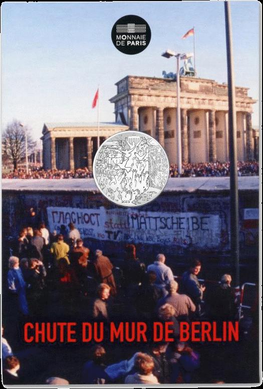 Франция монета 10 евро Падения Берлинской стены, подарочная упаковка