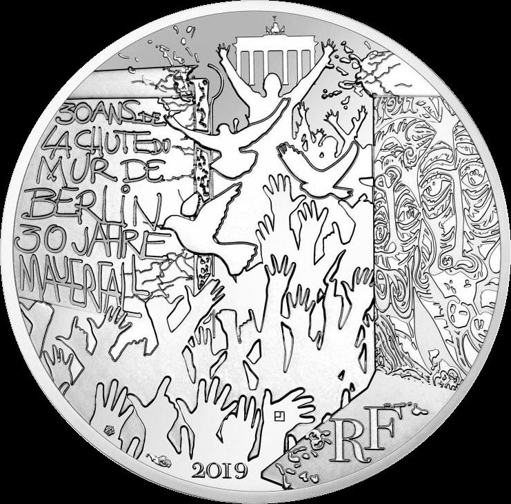 Франция монета 100 евро Падения Берлинской стены, аверс