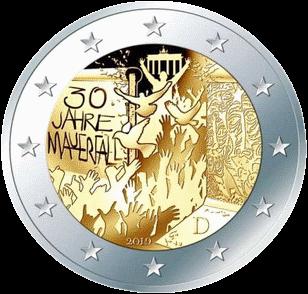 Франция монета 2 евро Падения Берлинской стены, реверс