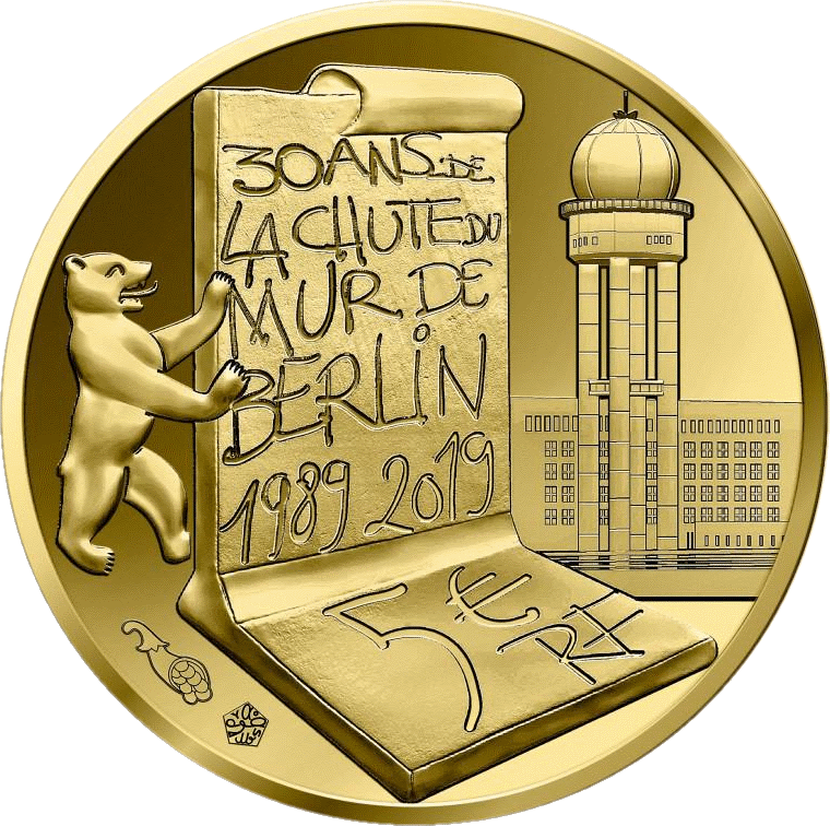 Франция монета 5 евро Падения Берлинской стены, реверс