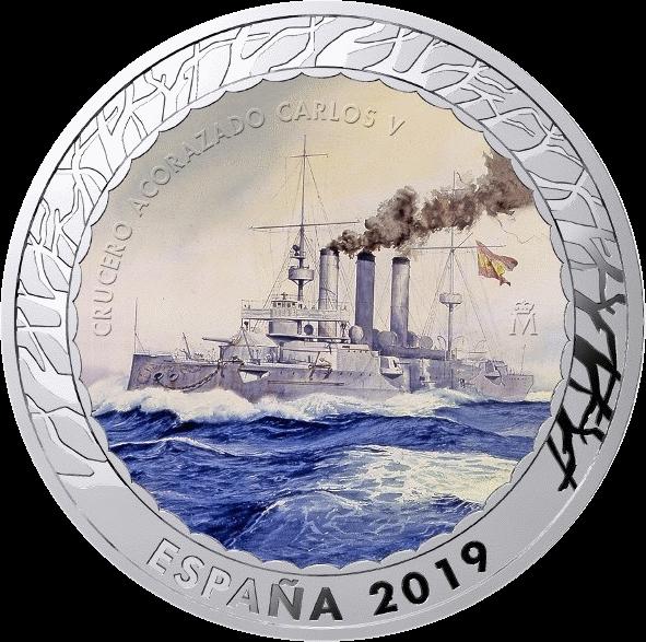 Испания монета 1,5 евро броненосный крейсер Император Карлос V, реверс