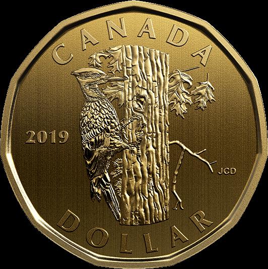 Канада монета 1 доллар дятел, реверс