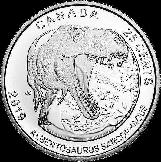 Канада монета 25 центов Альбертозавр, реверс